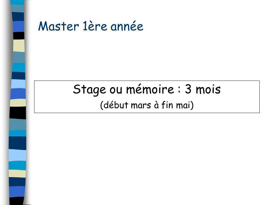 Master 1ère année Stage ou mémoire : 3 mois (début mars à fin mai)