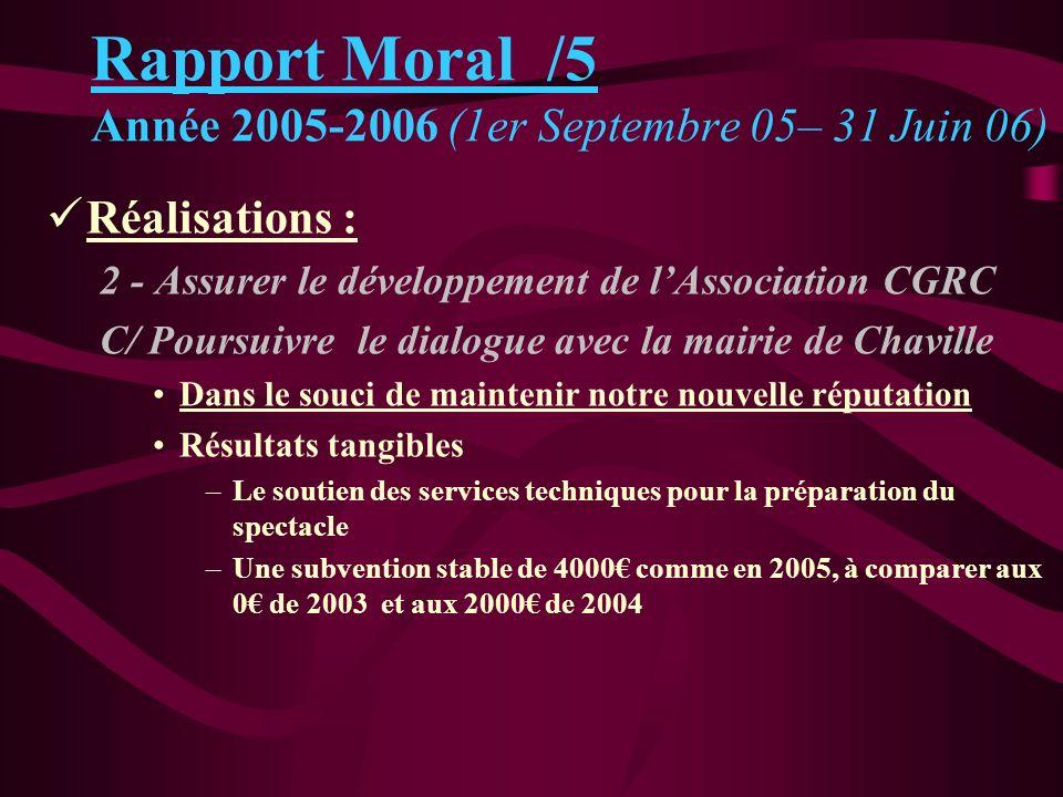 Rapport Moral /5 Année 2005-2006 (1er Septembre 05– 31 Juin 06)