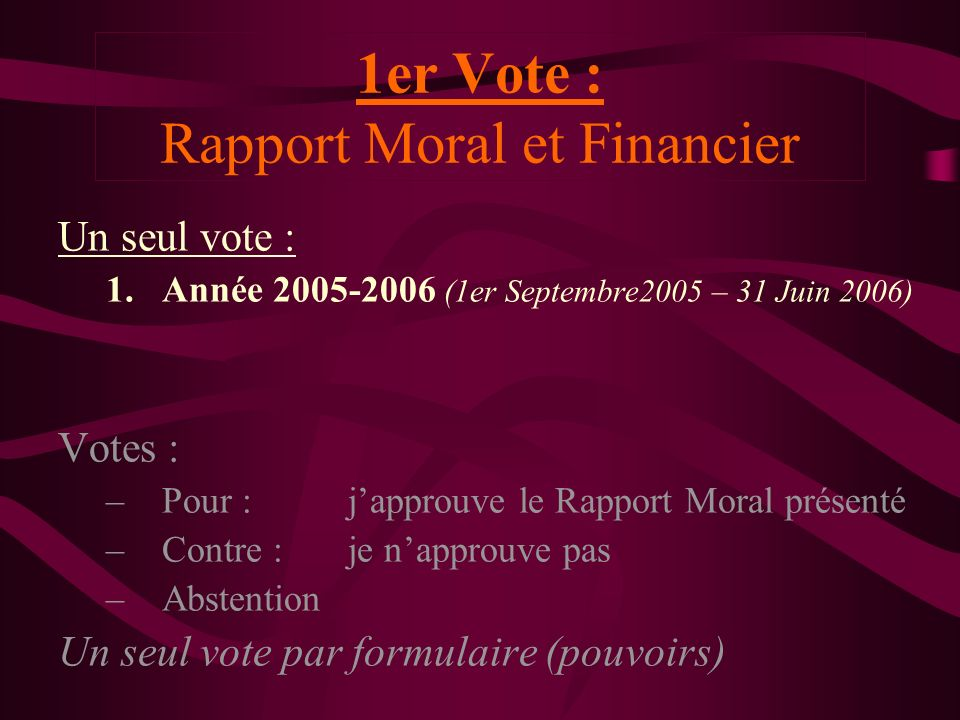 1er Vote : Rapport Moral et Financier