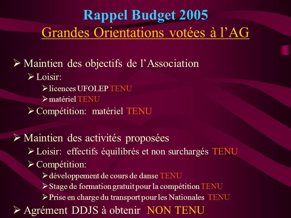 Rappel Budget 2005 Grandes Orientations votées à l'AG