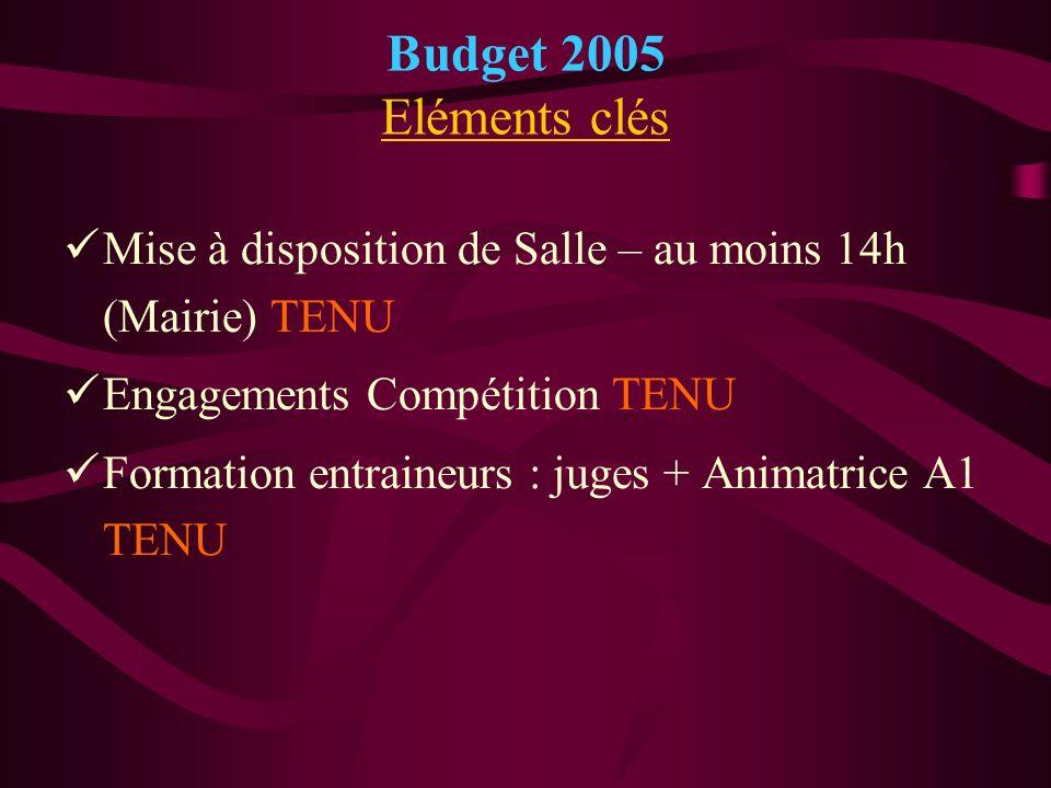 Budget 2005 Eléments clés Mise à disposition de Salle – au moins 14h (Mairie) TENU. Engagements Compétition TENU.