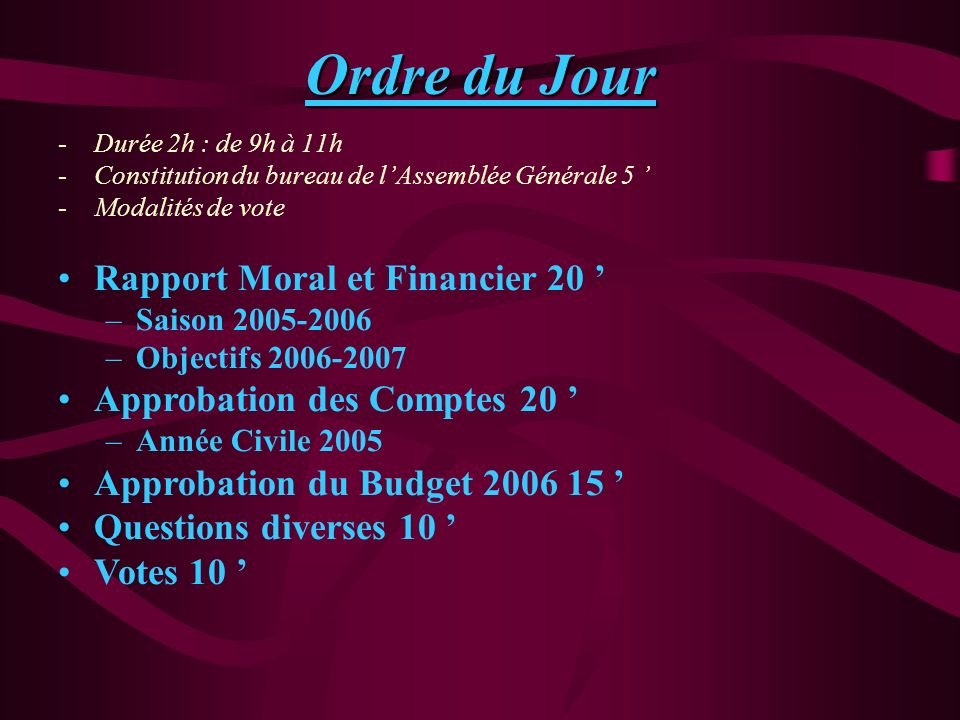 Ordre du Jour Rapport Moral et Financier 20 '