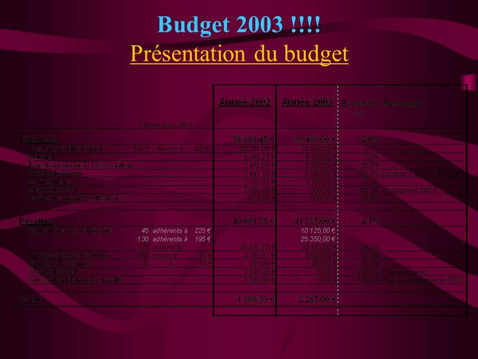 Budget 2003 !!!! Présentation du budget