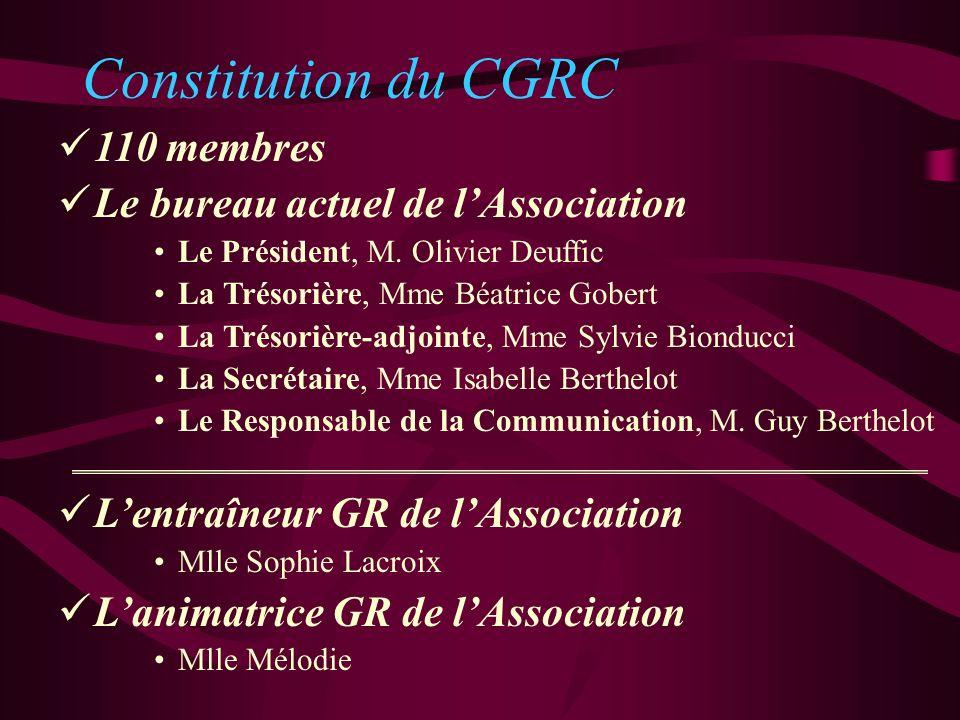 Constitution du CGRC 110 membres Le bureau actuel de l'Association
