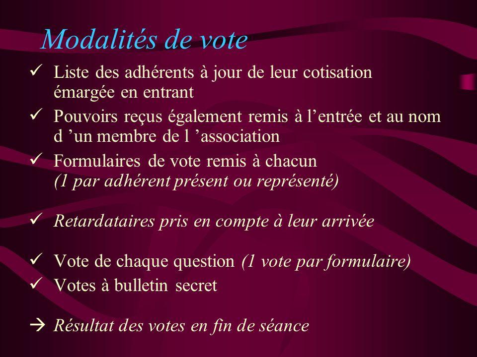 Modalités de vote Liste des adhérents à jour de leur cotisation émargée en entrant.