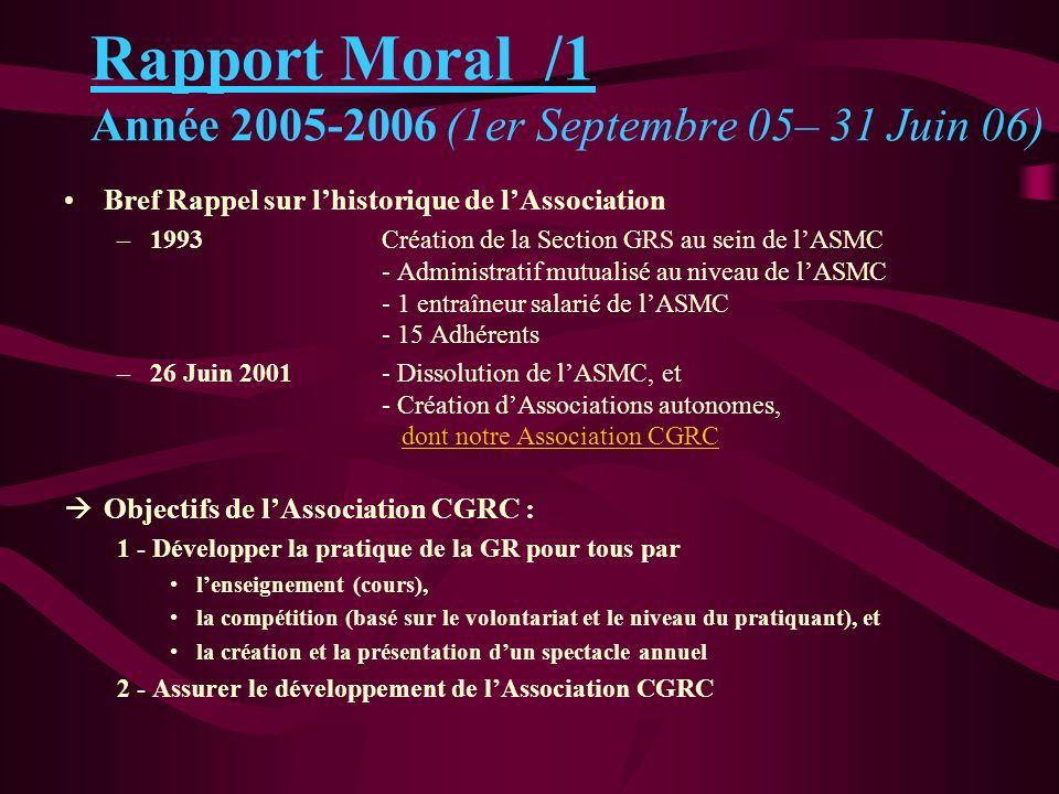 Rapport Moral /1 Année 2005-2006 (1er Septembre 05– 31 Juin 06)
