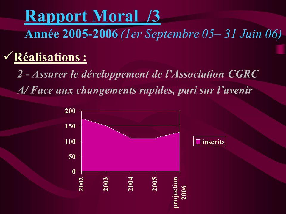 Rapport Moral /3 Année 2005-2006 (1er Septembre 05– 31 Juin 06)