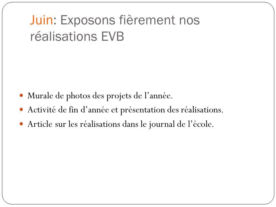 Juin: Exposons fièrement nos réalisations EVB