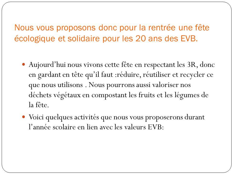 Nous vous proposons donc pour la rentrée une fête écologique et solidaire pour les 20 ans des EVB.
