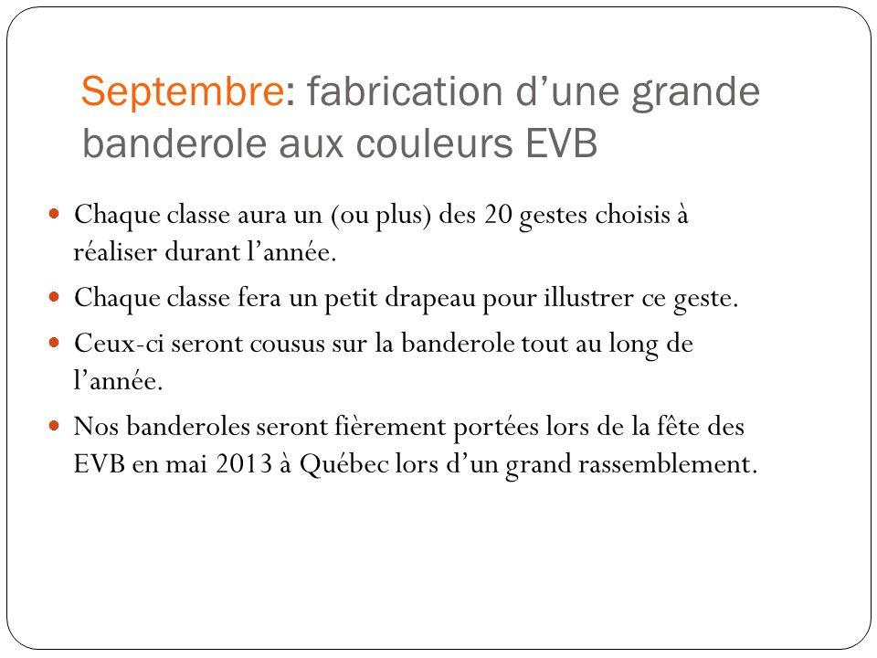 Septembre: fabrication d'une grande banderole aux couleurs EVB