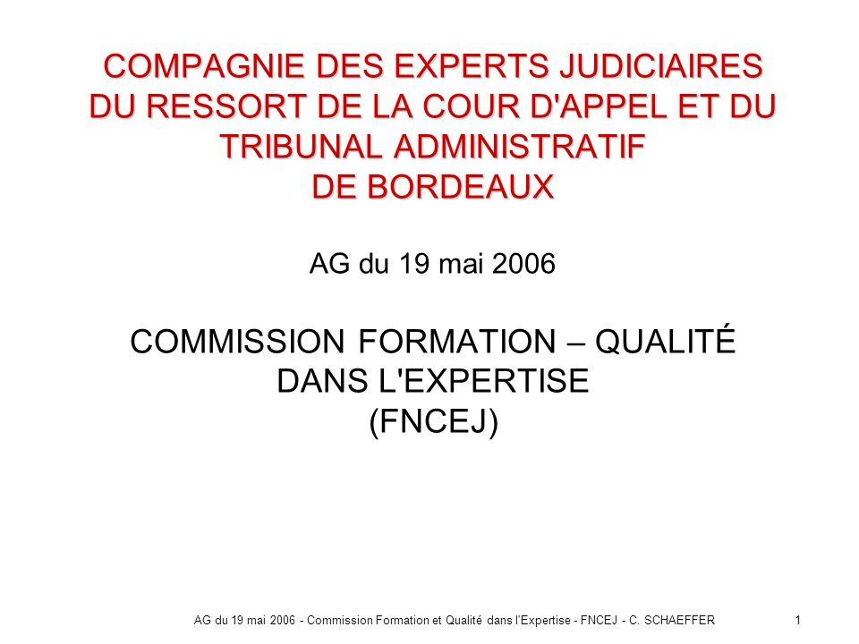COMPAGNIE DES EXPERTS JUDICIAIRES DU RESSORT DE LA COUR D APPEL ET DU TRIBUNAL ADMINISTRATIF DE BORDEAUX AG du 19 mai 2006 COMMISSION FORMATION – QUALITÉ DANS L EXPERTISE (FNCEJ)