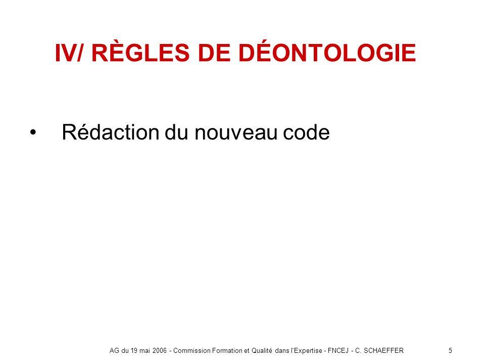 IV/ RÈGLES DE DÉONTOLOGIE