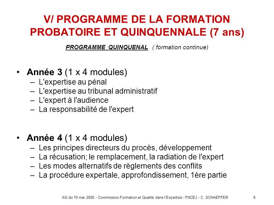 V/ PROGRAMME DE LA FORMATION PROBATOIRE ET QUINQUENNALE (7 ans)