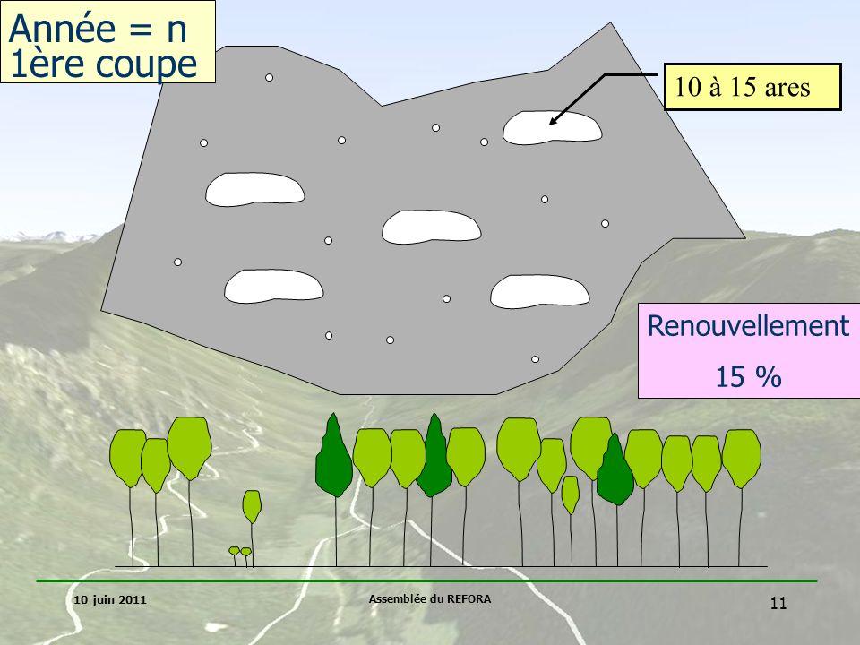 Année = n 1ère coupe 10 à 15 ares Renouvellement 15 % 10 juin 2011