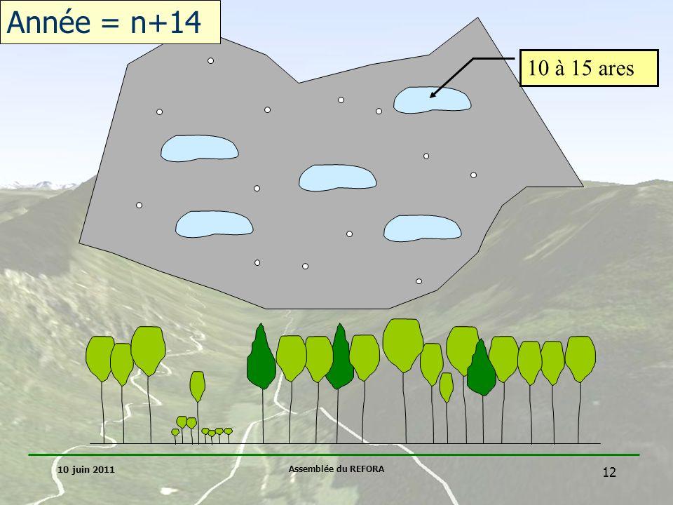Année = n+14 10 à 15 ares 10 juin 2011 Assemblée du REFORA