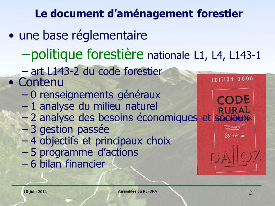 Le document d'aménagement forestier