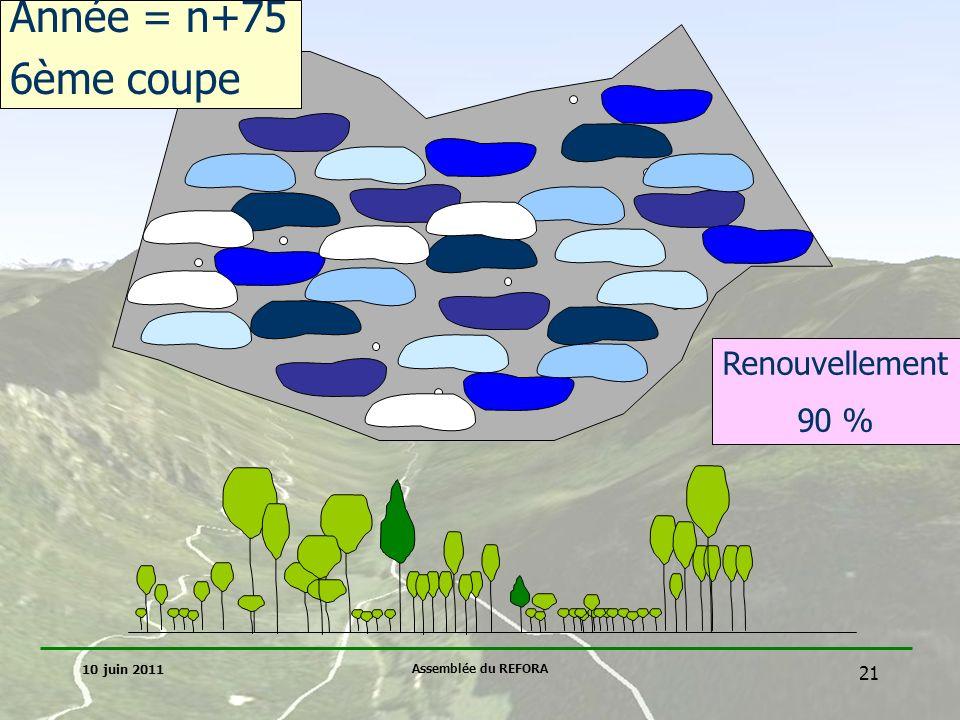 Année = n+75 6ème coupe Renouvellement 90 % 10 juin 2011