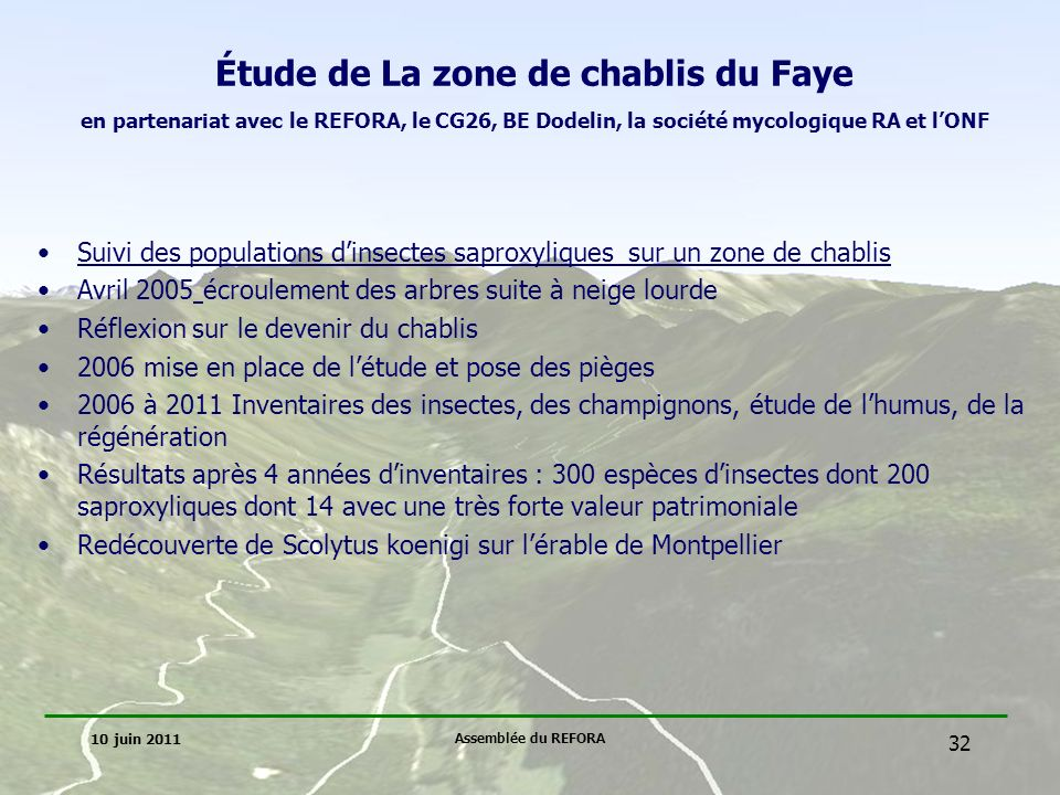 Étude de La zone de chablis du Faye en partenariat avec le REFORA, le CG26, BE Dodelin, la société mycologique RA et l'ONF