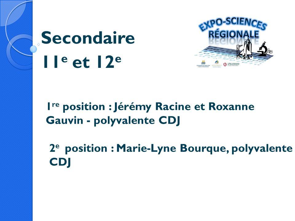 Secondaire 11e et 12e. 1re position : Jérémy Racine et Roxanne Gauvin - polyvalente CDJ.