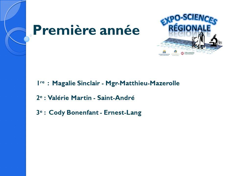 Première année 1re : Magalie Sinclair - Mgr-Matthieu-Mazerolle