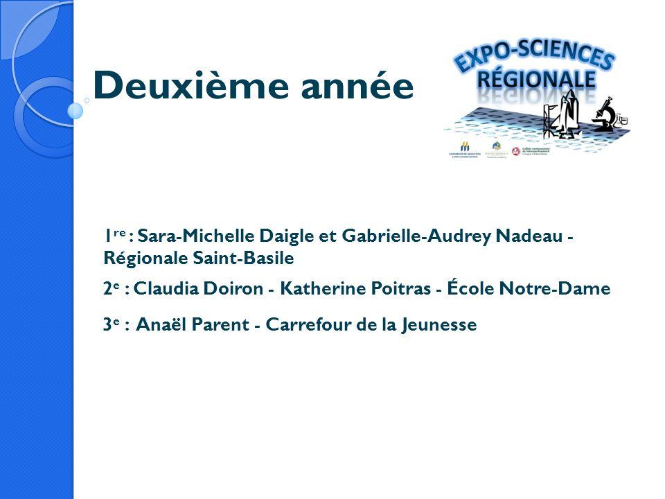 Deuxième année 1re : Sara-Michelle Daigle et Gabrielle-Audrey Nadeau - Régionale Saint-Basile.