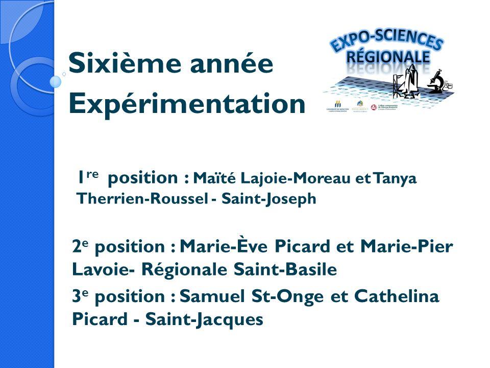 Sixième année Expérimentation