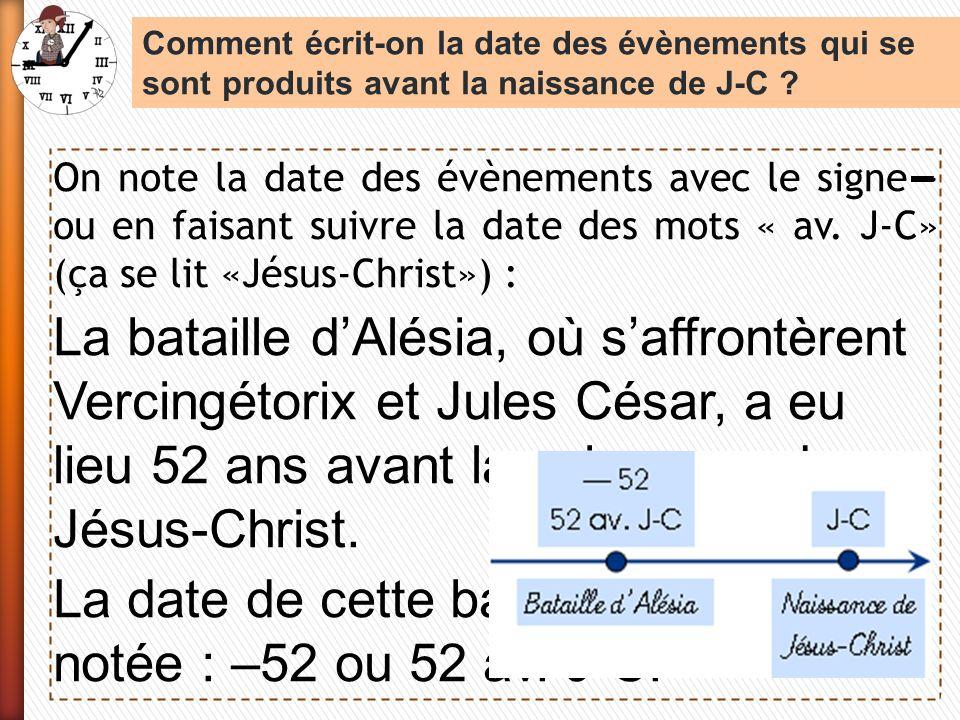 La date de cette bataille est notée : –52 ou 52 av. J-C.