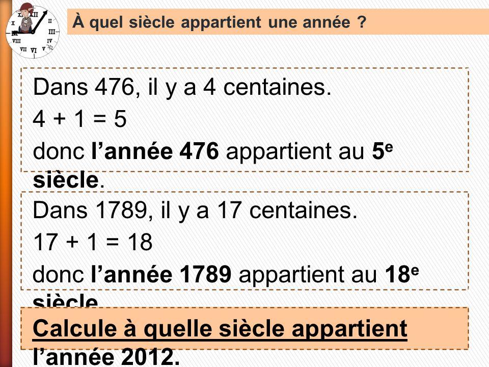 donc l'année 476 appartient au 5e siècle.