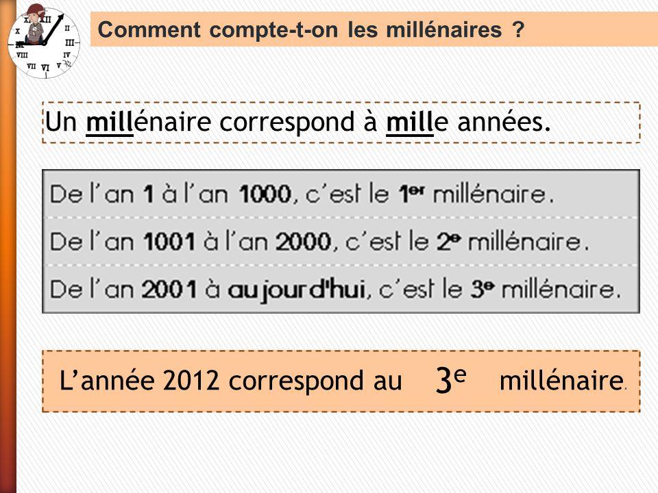 3e Un millénaire correspond à mille années.