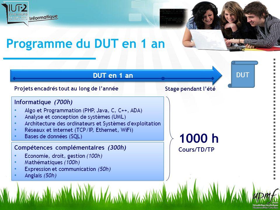 Programme du DUT en 1 an 1000 h DUT DUT en 1 an Informatique (700h)