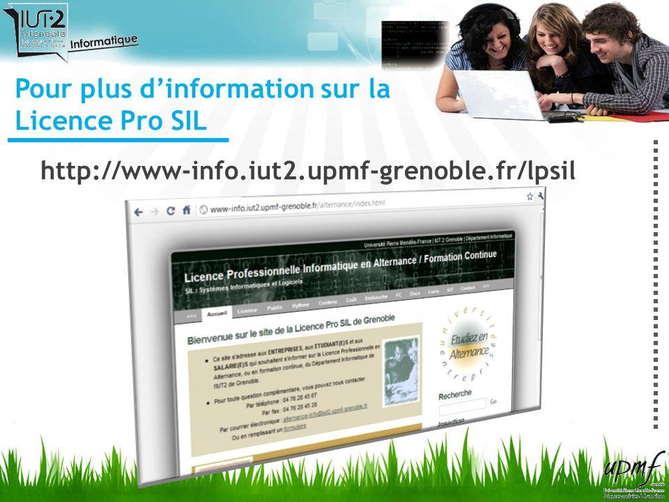 Pour plus d'information sur la Licence Pro SIL