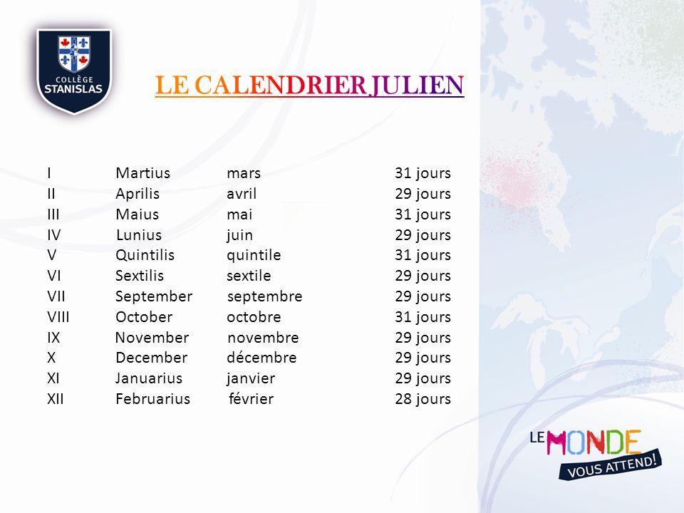 Le calendrier Julien I Martius mars 31 jours II Aprilis avril 29 jours