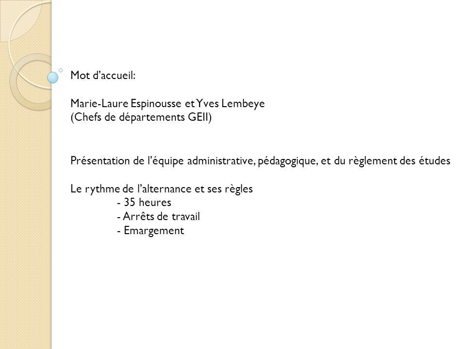 Mot d'accueil: Marie-Laure Espinousse et Yves Lembeye. (Chefs de départements GEII)