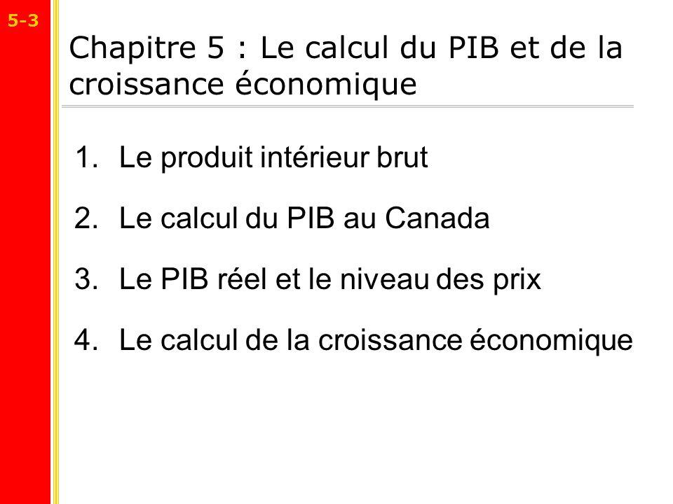 Chapitre 5 : Le calcul du PIB et de la croissance économique