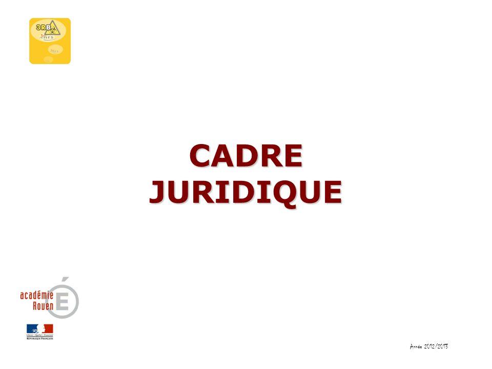 CADRE JURIDIQUE Année 2012/2013