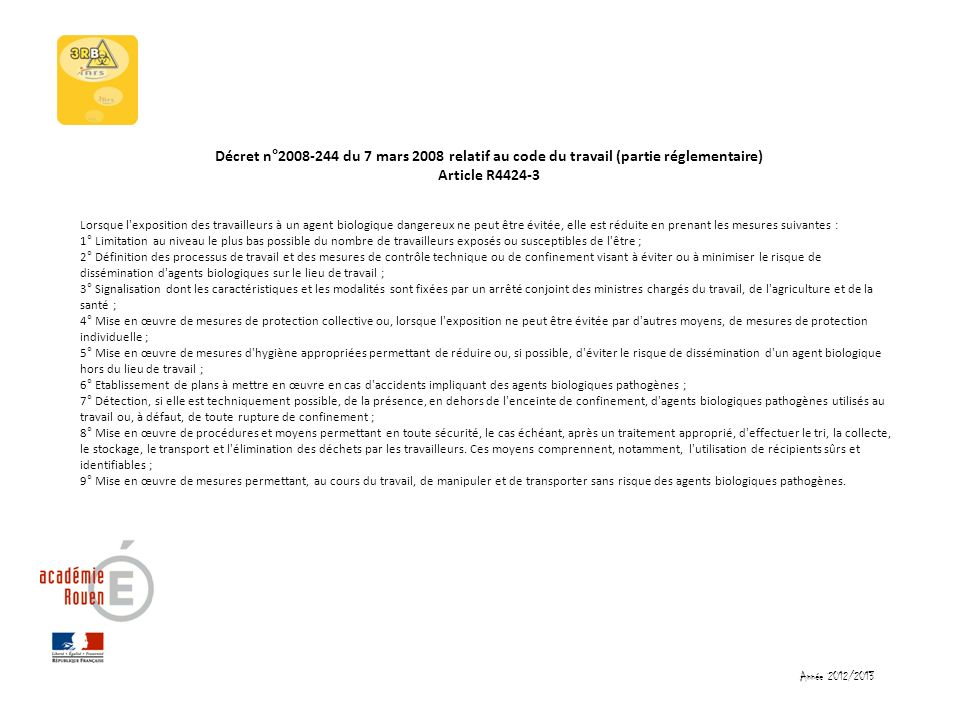 Décret n°2008-244 du 7 mars 2008 relatif au code du travail (partie réglementaire) Article R4424-3