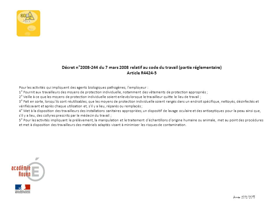 Décret n°2008-244 du 7 mars 2008 relatif au code du travail (partie réglementaire) Article R4424-5