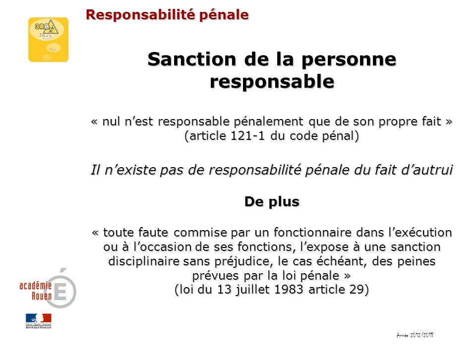 Sanction de la personne responsable