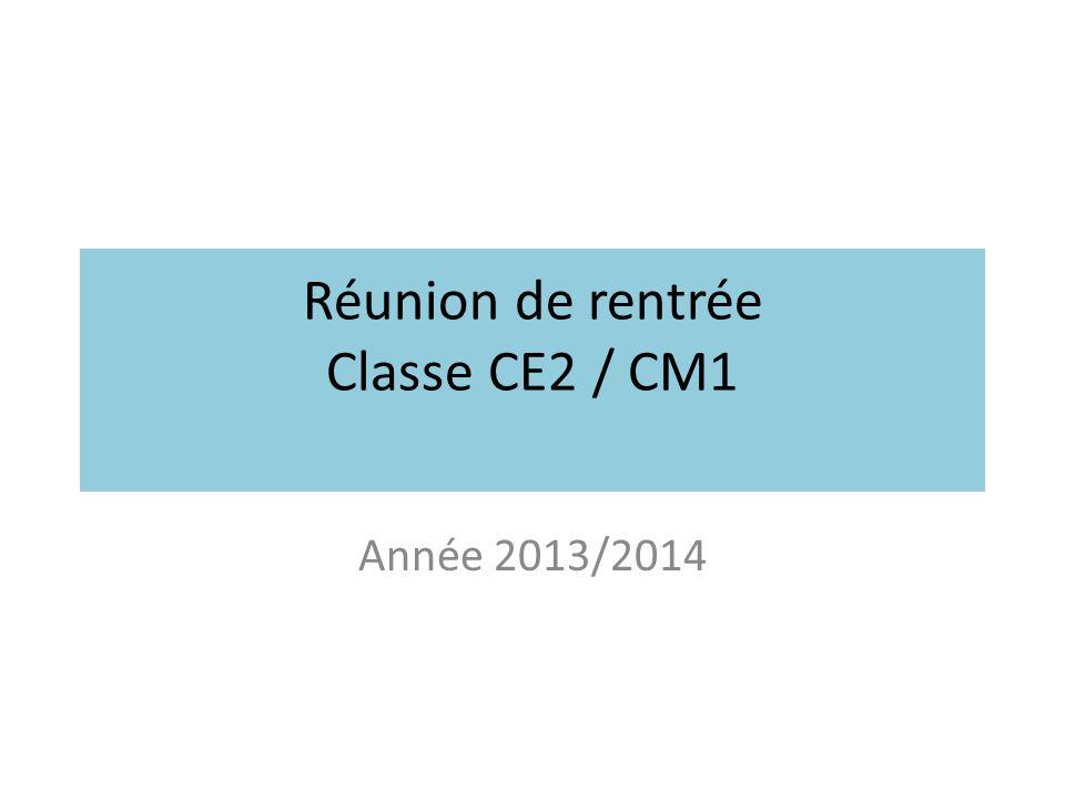 Réunion de rentrée Classe CE2 / CM1