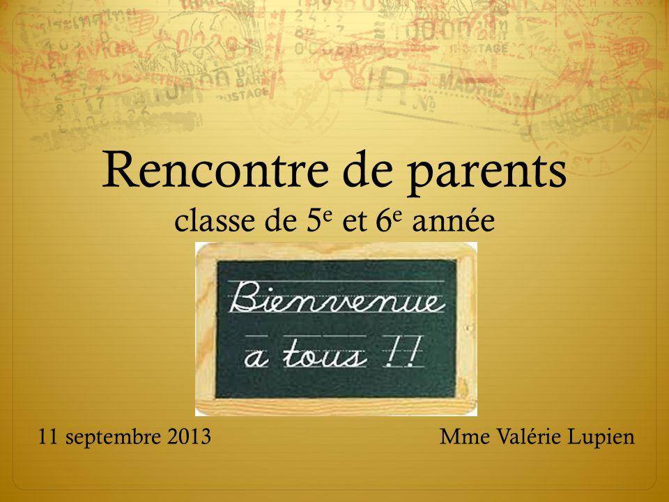Rencontre de parents classe de 5e et 6e année