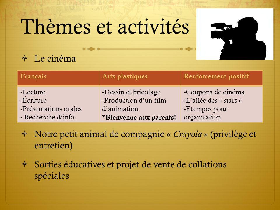 Thèmes et activités Le cinéma