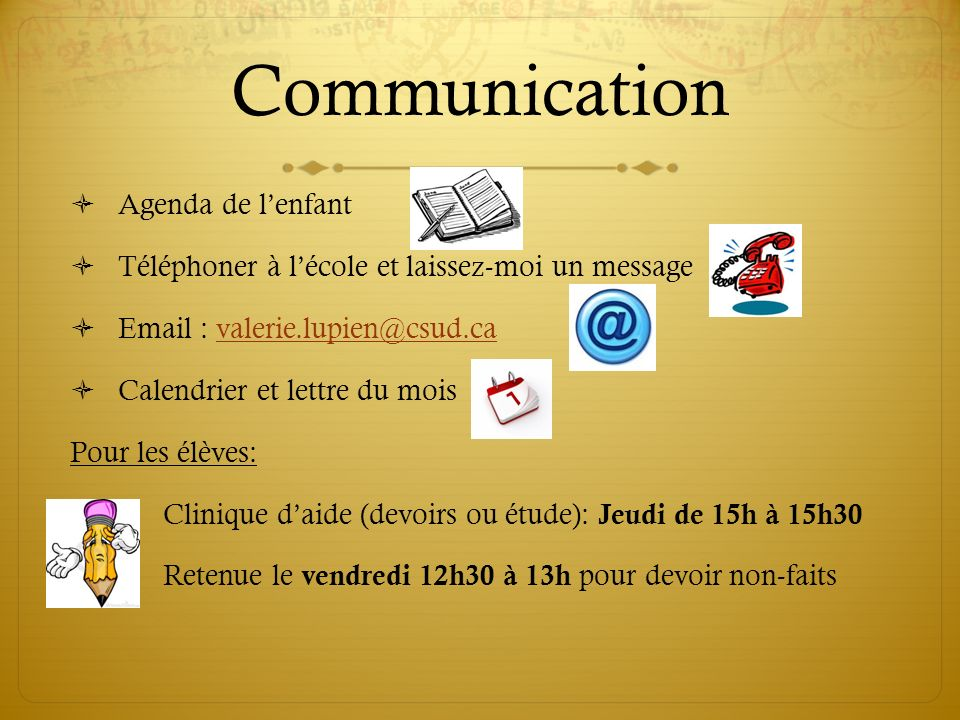 Communication Agenda de l'enfant
