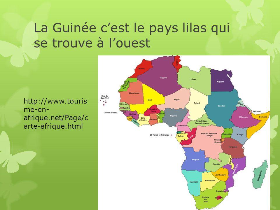 La Guinée c'est le pays lilas qui se trouve à l'ouest