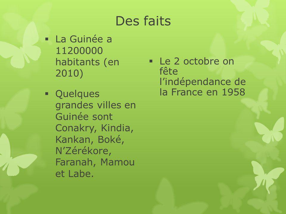 Des faits La Guinée a 11200000 habitants (en 2010)