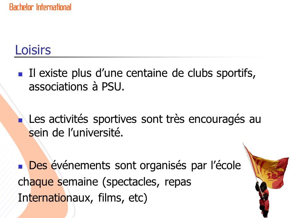 Loisirs Il existe plus d'une centaine de clubs sportifs, associations à PSU. Les activités sportives sont très encouragés au sein de l'université.