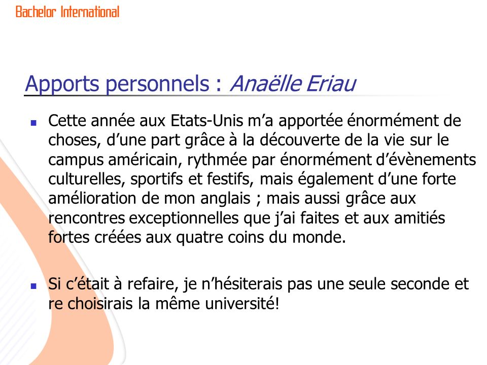 Apports personnels : Anaëlle Eriau