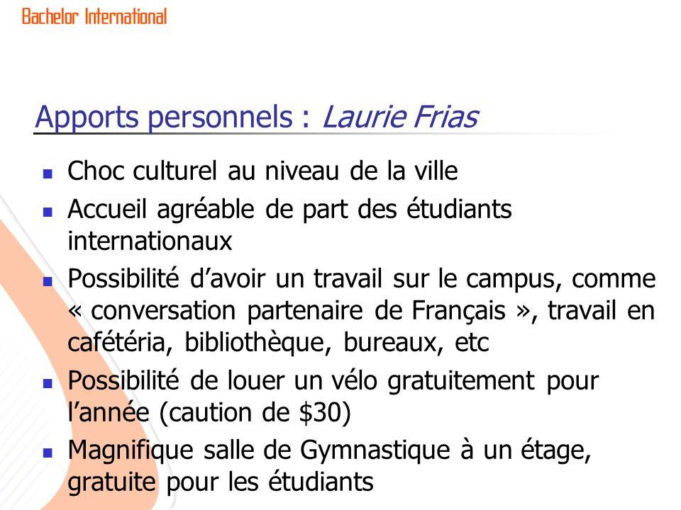 Apports personnels : Laurie Frias