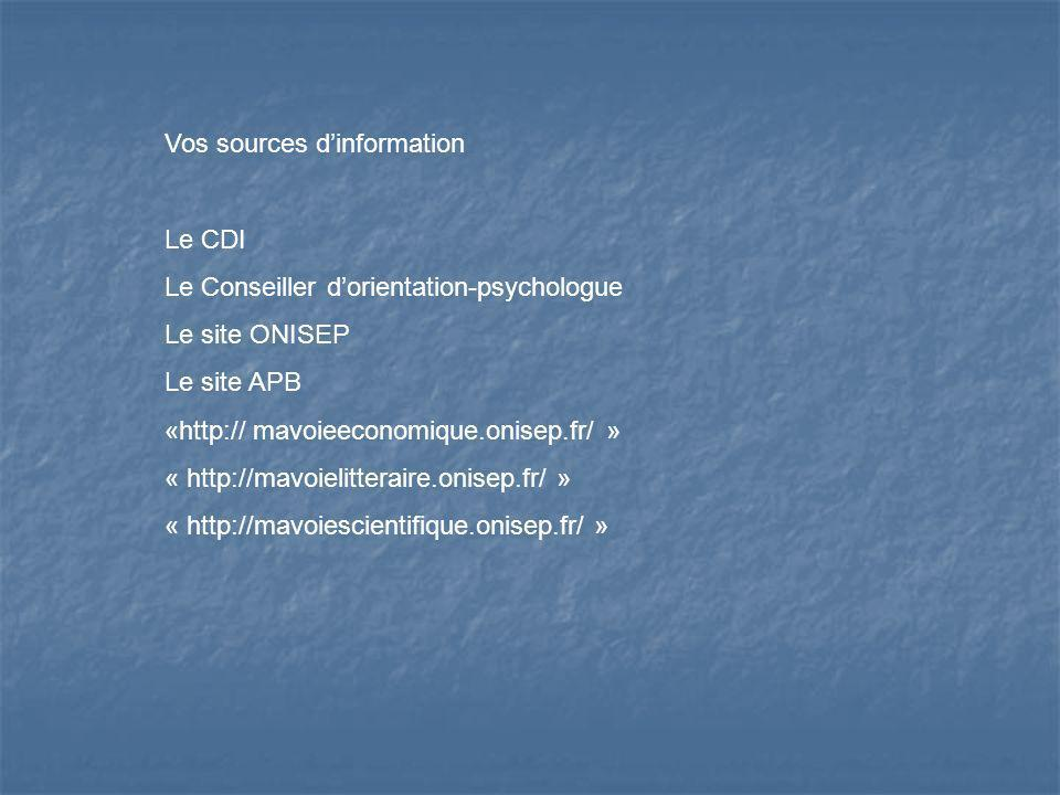 Vos sources d'information
