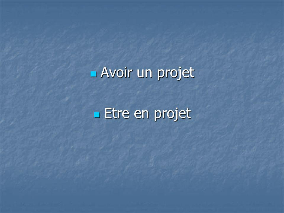 Avoir un projet Etre en projet