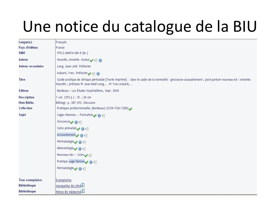 Une notice du catalogue de la BIU
